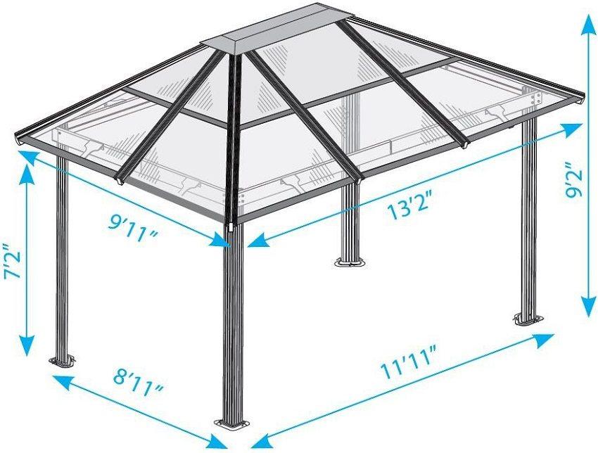 Схема простой беседки с металлическим каркасом и крышей из поликарбоната