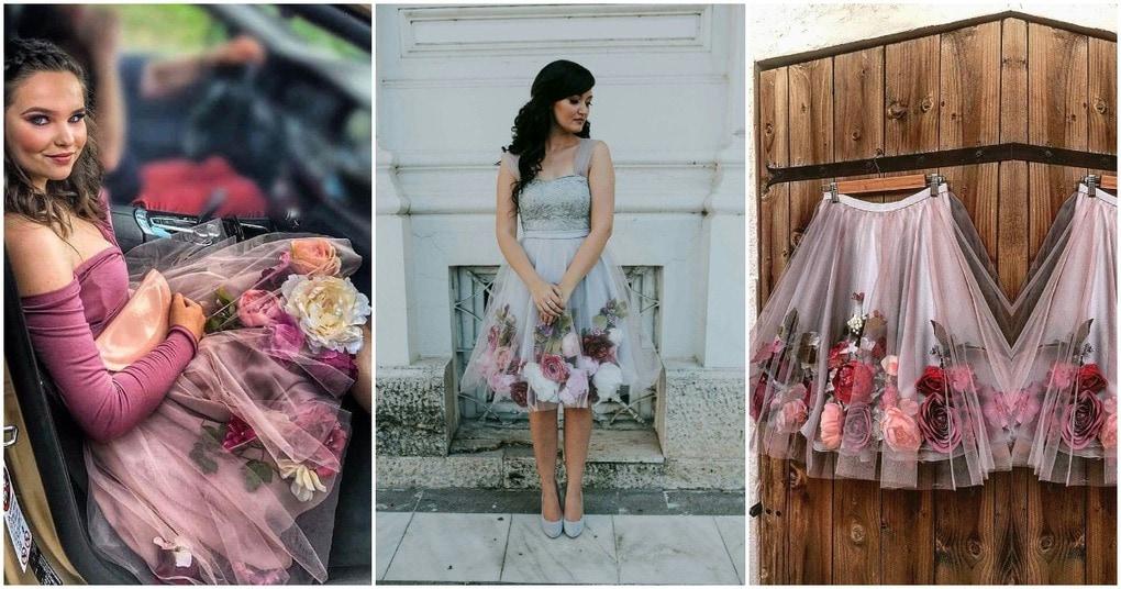 Невероятные наряды из шифона и искусственных цветов