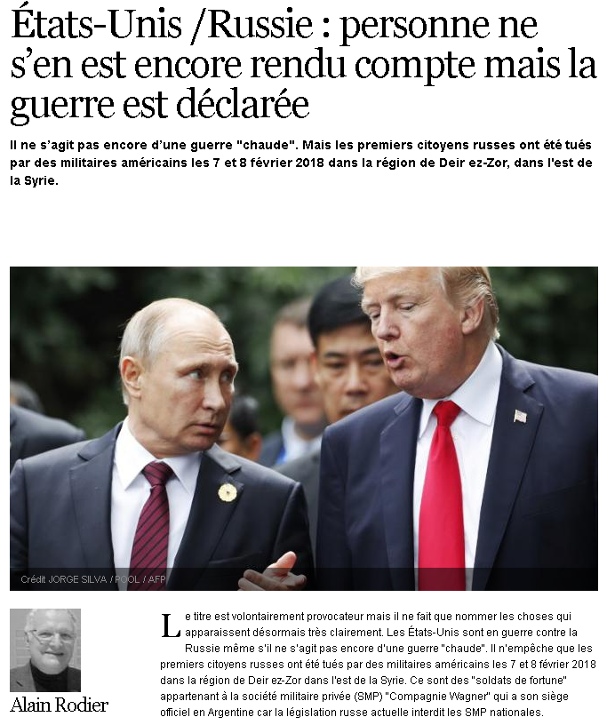 """Atlantico: """"Никто ничего не понял, но война между США и Россией уже объявлена"""""""