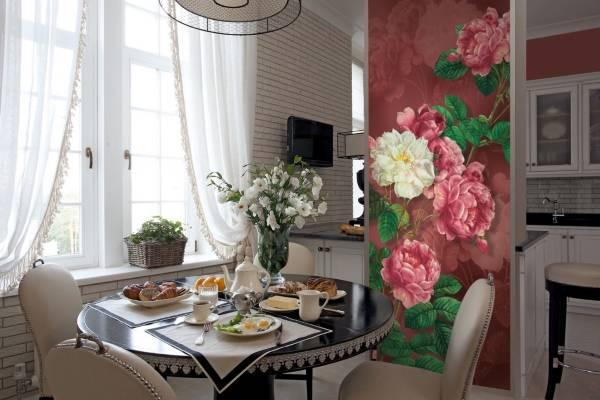 Узкие фотообои для кухни - фото сочетания со стенами