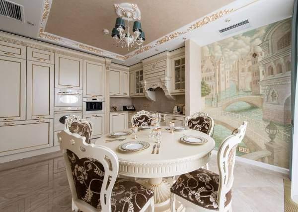 Фотообои под настенную роспись на кухне возле стола