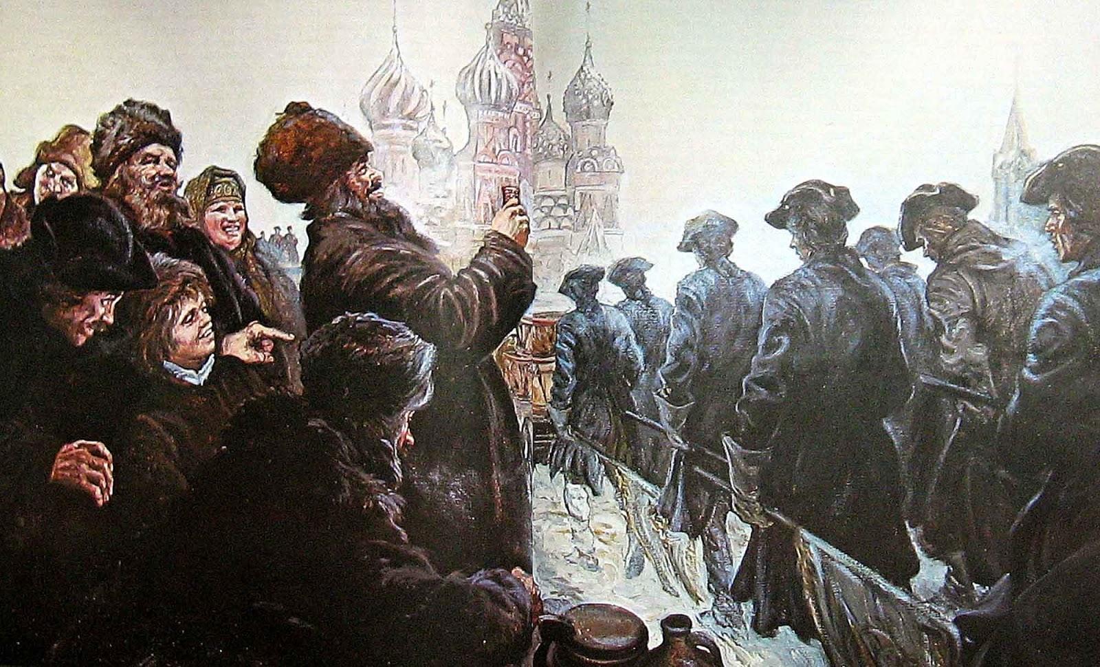 Пленные шведы в Москве по приказу Петра первого