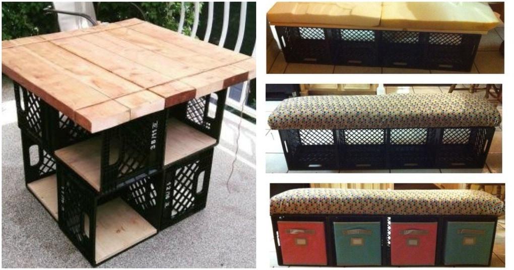 Оригинальная и удобная мебель из пластиковых ящиков