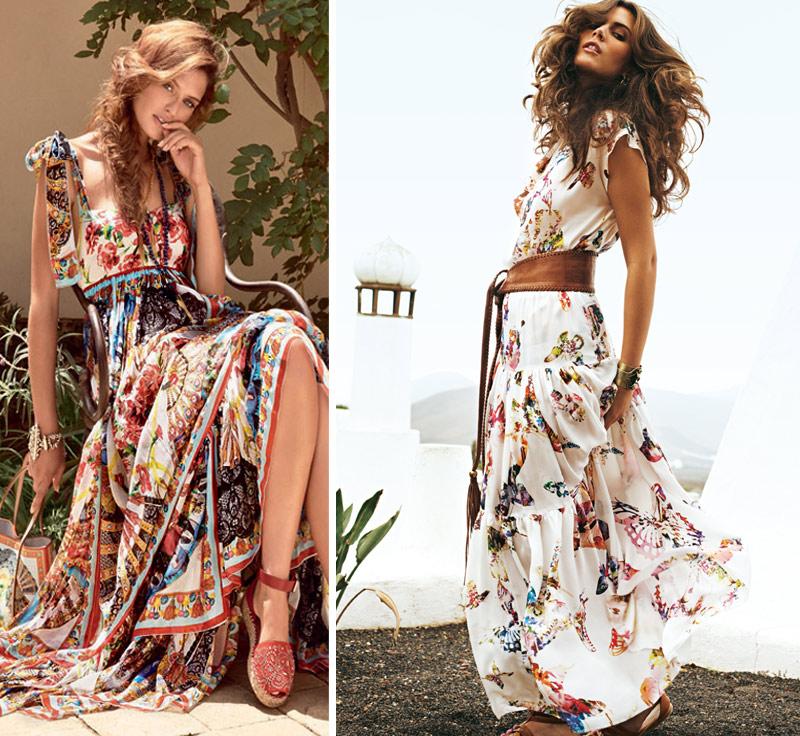 Длинные цветастые платья