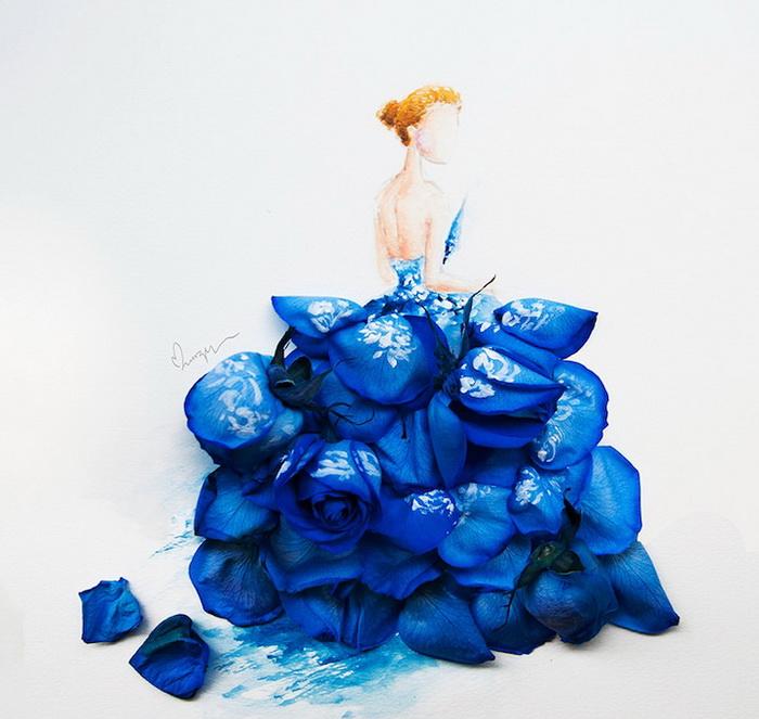 Воздушные барышни в цветочных платьях: акварели художницы из Сингапура