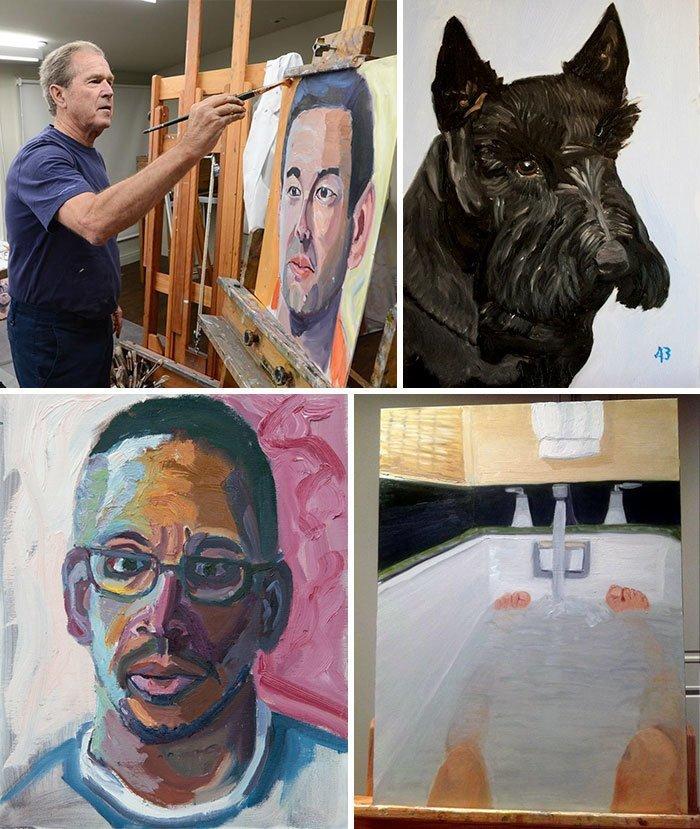 Джордж Буш живопись, звезды, знаменитости, кино, многогранный талант, неожиданное увлечение, художники, эстрада