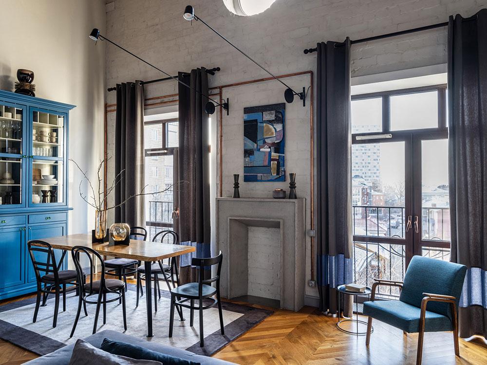 Интересный интерьер квартиры на последнем этаже новостроя в Казани