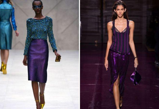 фиолетовая юбка миди