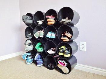 Полка для обуви из картонных труб