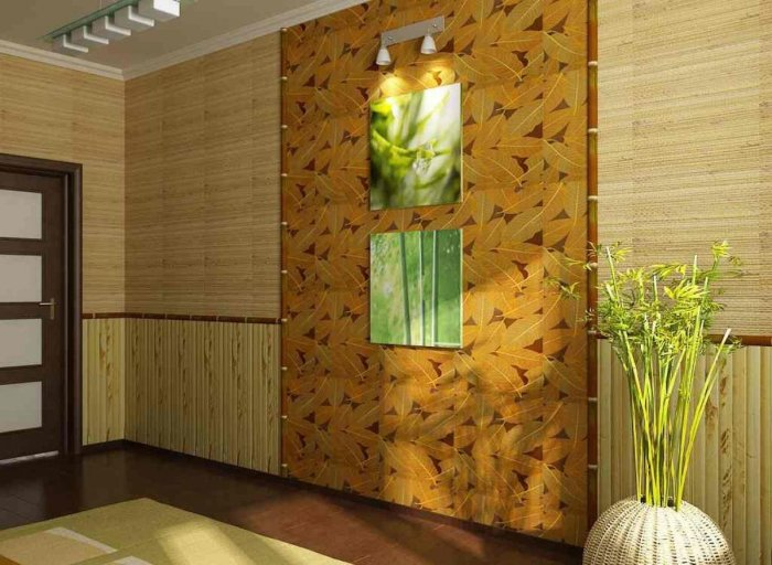 Необычные обои из натуральных бамбуковых растительных волокон в современном интерьере гостиной комнаты.