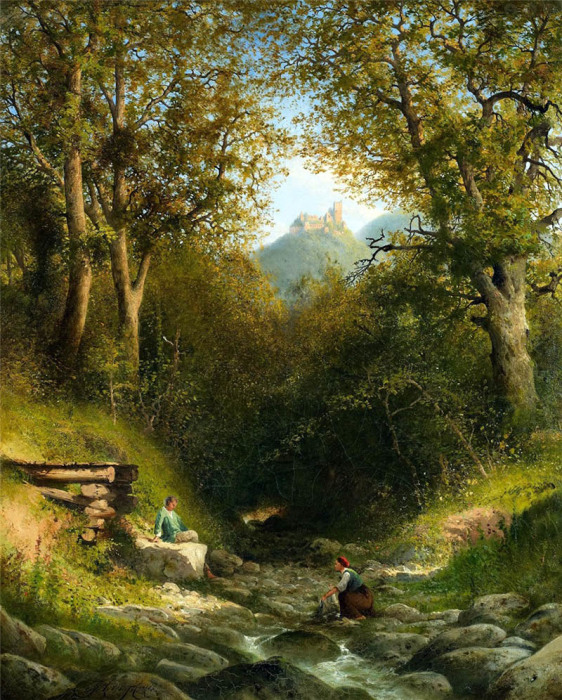 Автор картины - немецкий художник Адольф Жан Луи Томас (Adolphe Jean Louis Thomas).