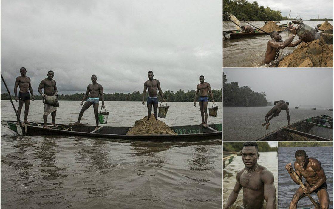 Мускулистые камерунцы ежедневно рискуют жизнью, чтобы достать песок со дна реки