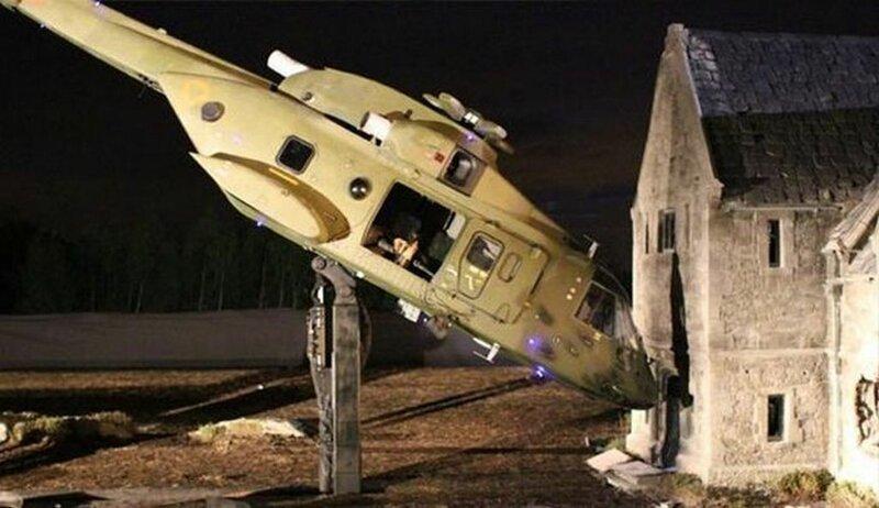 А вот так происходило крушение вертолета в шпионском боевике «007: Координаты «Скайфолл»» интересно, кино, киносъемки