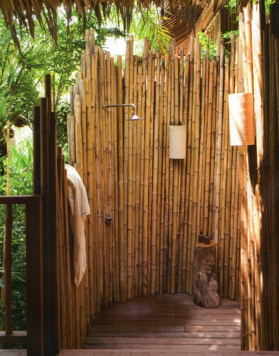Душ из крупных бамбуковых стеблей, который можно соорудить своими руками.