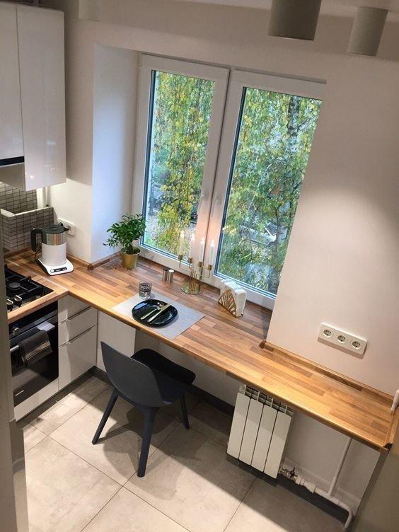 2. Любое свободное пространство нужно использовать, поэтому не позволяйте окну испортить ваши планы дизайн, идеи дизайна, интерьер, кухня, маленькая кухня