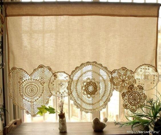 Новые способы применения вязанных салфеток в интерьере вязание,декор,интерьер