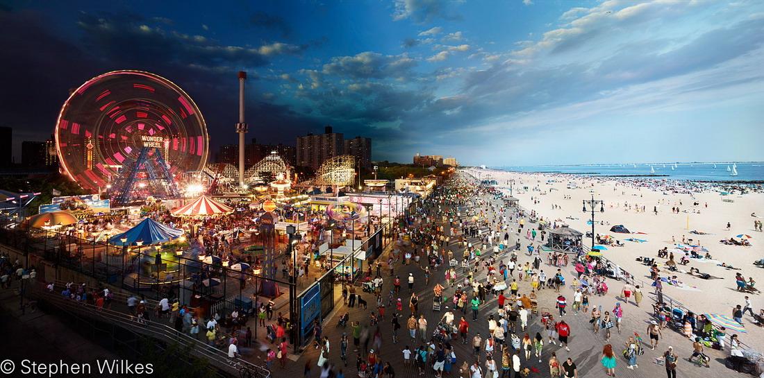 День сменяет  ночь, в рамках одной фотографии. Проект Стивена Уилкса (США)