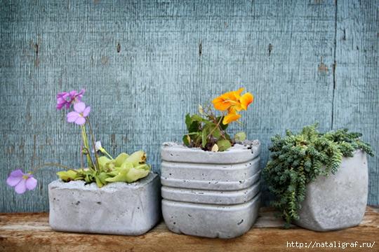 Горшки из цемента для сада своими руками