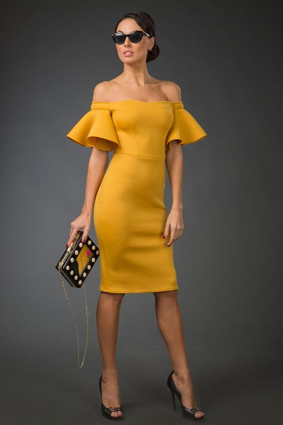 желтое платье на новый год 2019