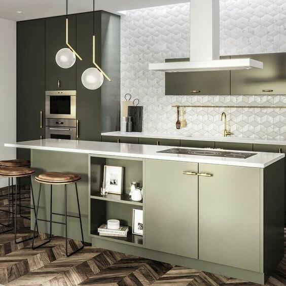 30 интересных зеленых кухонь для современного интерьера