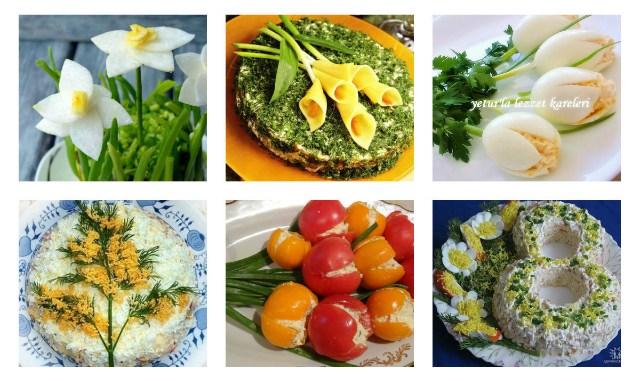 Красивое оформление салатов на 8 марта – это очень просто.