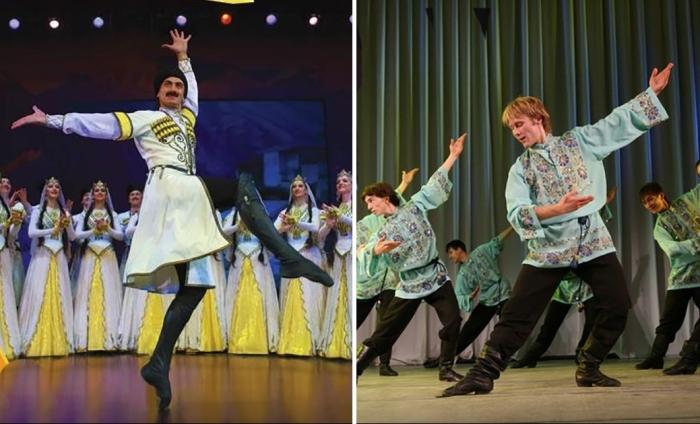 Народный танцевальный батл: русский танец и лезгинка