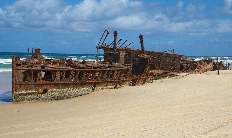 Кораблекрушение судна «SS Махено» является наиболее знаменитым кораблекрушением у острова Фрейзер в Австралии выброшенные, жизнь, катастрофа, корабли, красота, невероятное