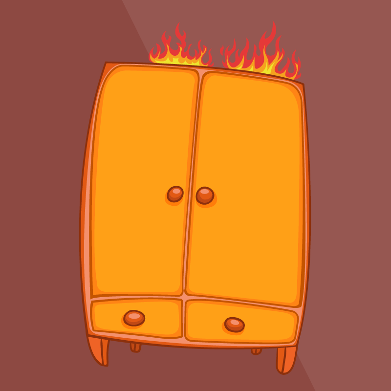 Вдоме случился пожар, исуп…
