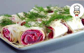 Закуска из балыка и овощей в лаваше