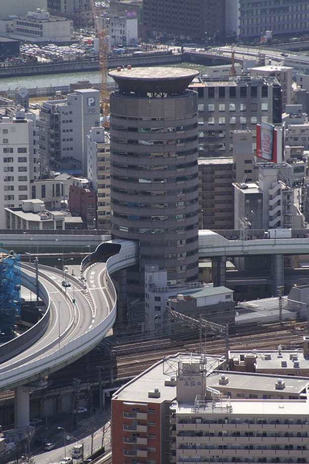 The Gate Tower Building in Osaka has a highway running through its fifth, sixth, and seventh floors. The highway is not attached to the building, and it