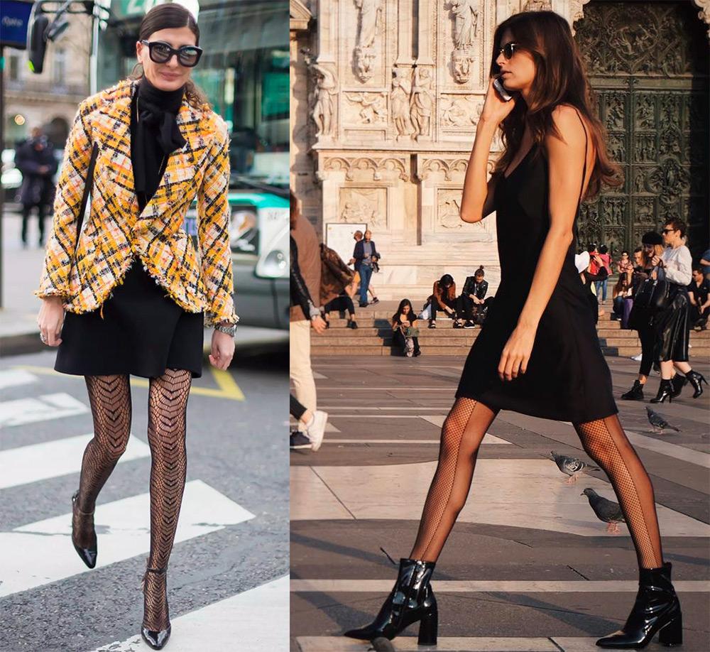 Колготки, чулки и носки в сеточку – с чем носить