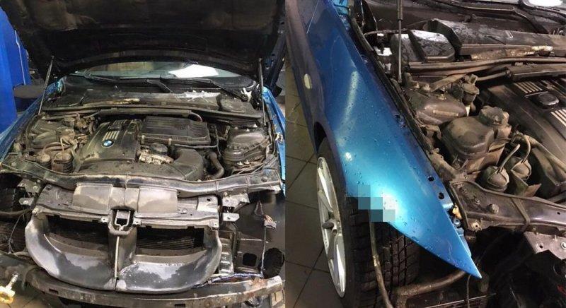 Автомобиль BMW, с которого еле-еле удалось снять бампер