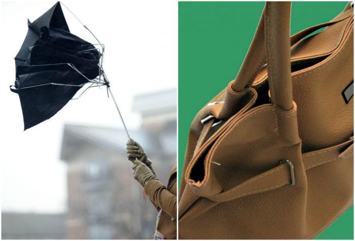 Поломанные сумки и зонты.