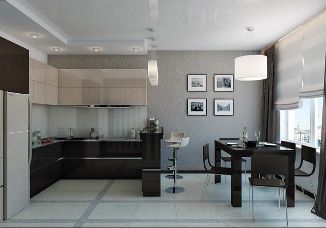 кухня в квартире студии примеры