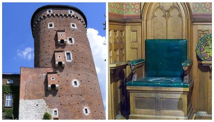 В загородных средневековых замках в качестве туалета выступали эркеры на крепостных стенах, а в замке – трон был оборудован горшком.