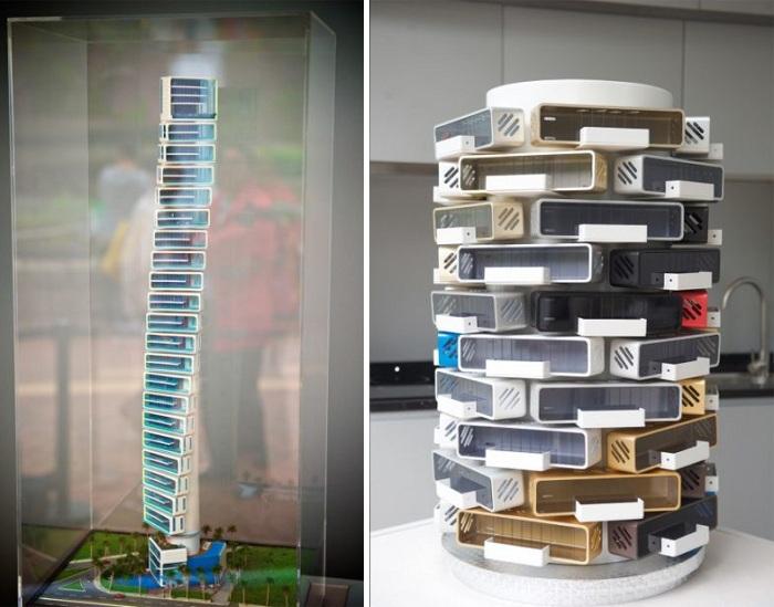 Причудливые формы многоэтажных домов из алюминиевых домиков Alpod (Китай).