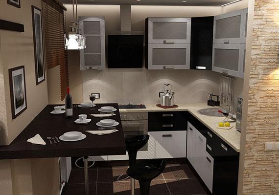 Темные тона в оформлении кухни