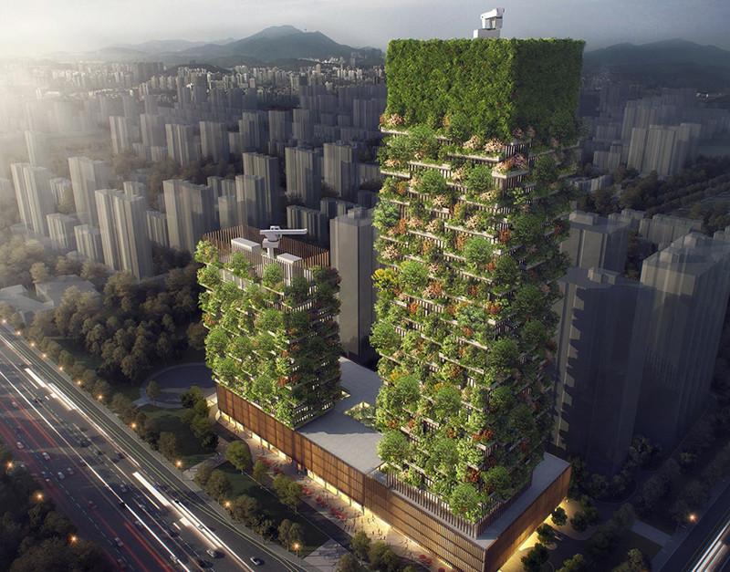 """Первый """"вертикальный лес"""" в Азии, который ежедневно будет преобразовывать CO2 в 60 кг кислорода"""