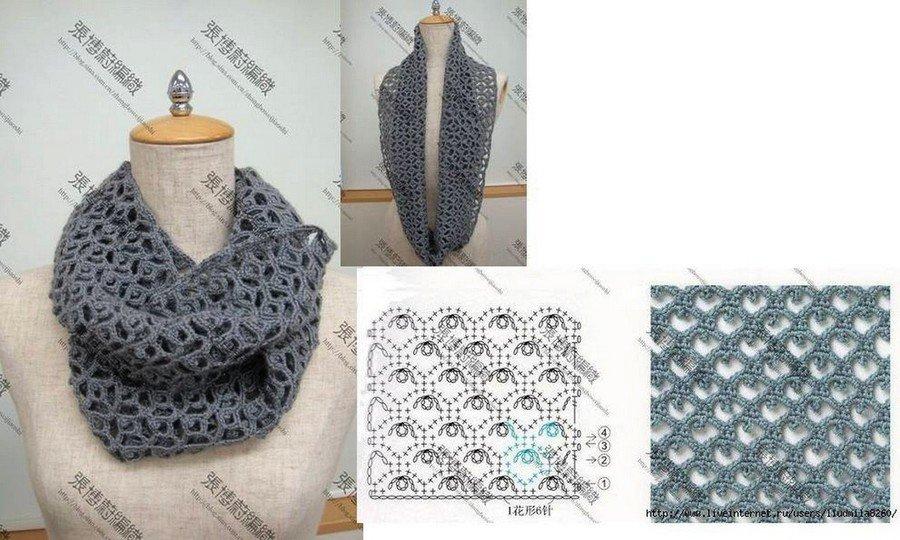 шарф снуд крючком схемы пошаговое описание вязания и мастер класс