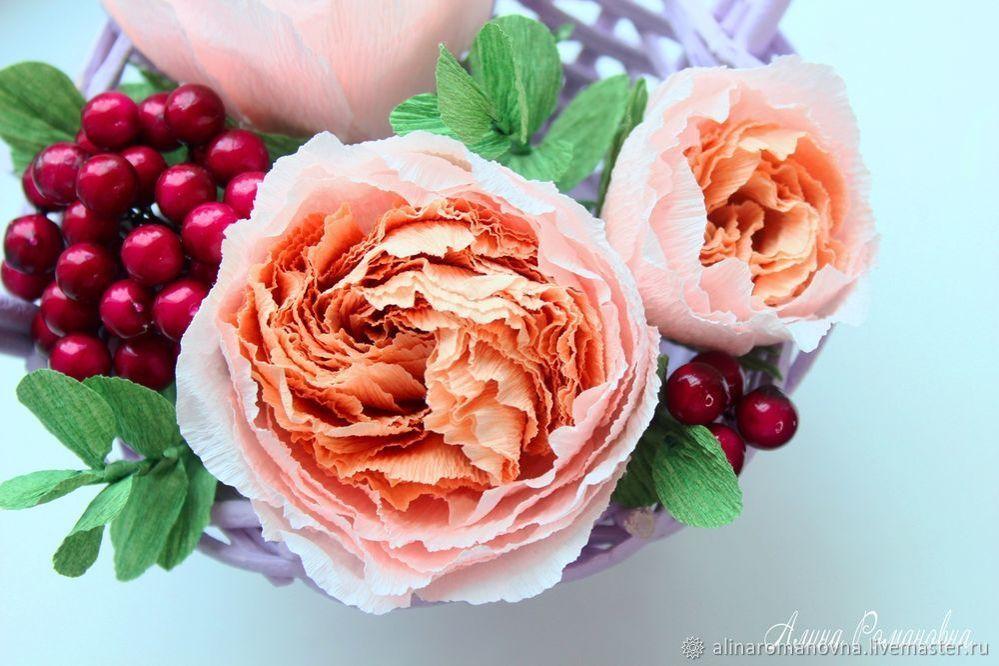 Создаем розы Дэвида Остина из гофрированной бумаги гофробумага,рукоделие,сделай сам,цветы