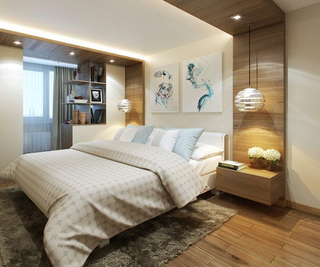 дизайн спальни с балконом полки