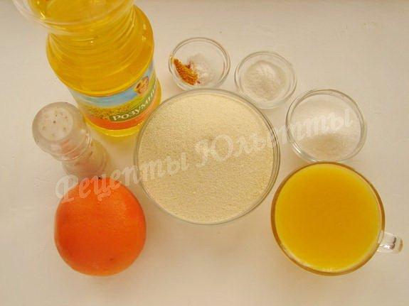 ингредиенты для апельсинового манника на соке