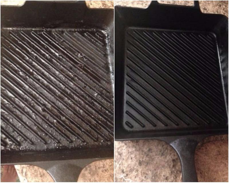 как удалить грязь из сковородки