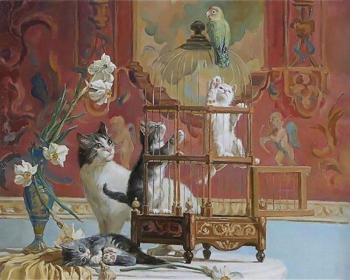 Художник Святослав Новосадюк и его очаровательные кошки живопись