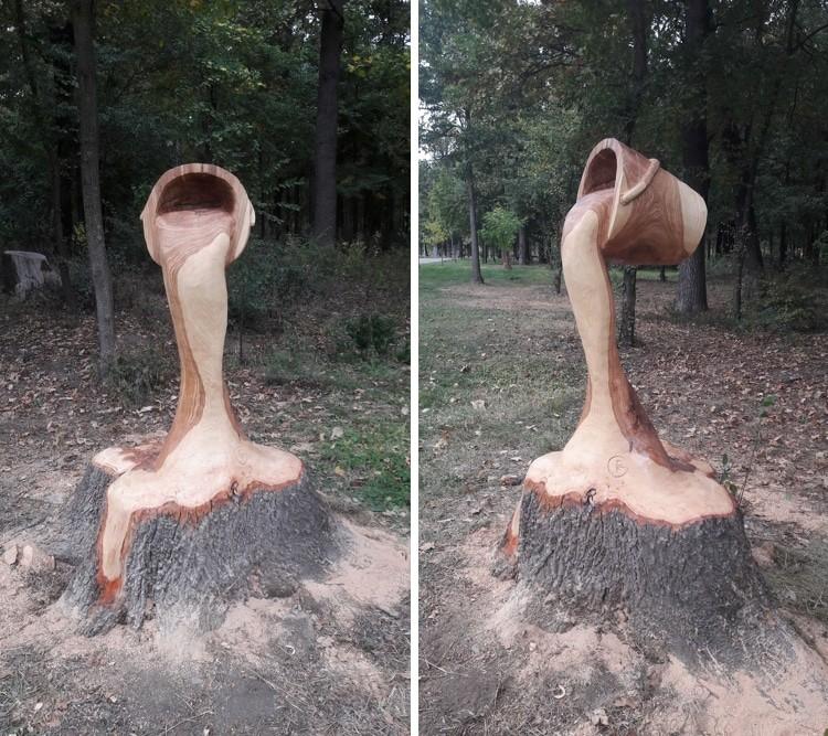 Парень бензопилой превратил прогнивший пень в ведро со льющейся водой дерево, красота, пень, своими руками, сделай сам, скульптура