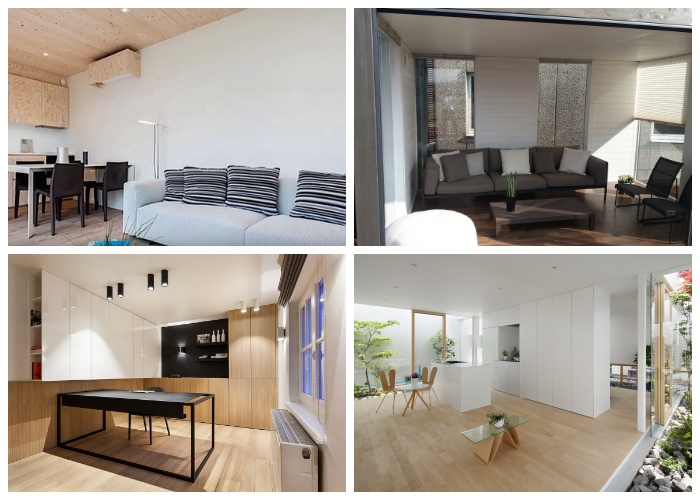 Варианты интерьеров домом, созданных из модулей («Skilpod», Бельгия).