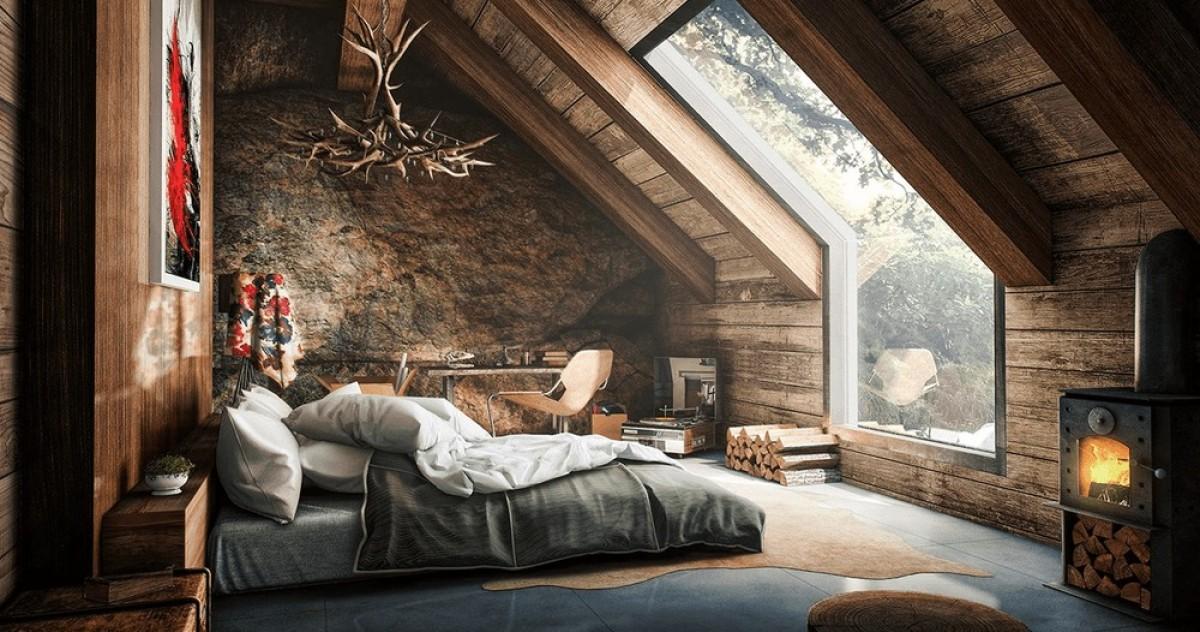 Спальня в цветах: Бежевый, Коричневый, Светло-серый, Темно-коричневый, Черный. Спальня в стиле: Кантри.