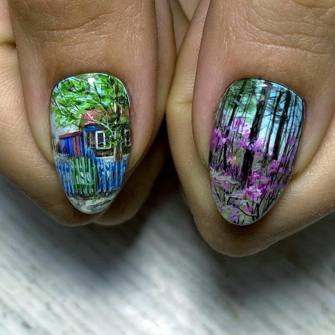 Художница создает картины на ногтях – их впору выставлять в галерее идеи и вдохновение,творчество
