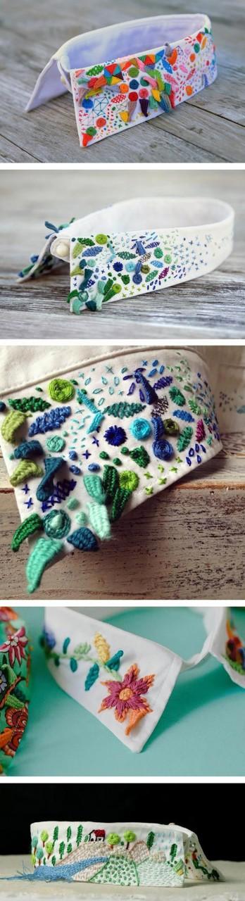 Модные вышитые аксессуары: воротники, галстуки-бабочки, сумочки...