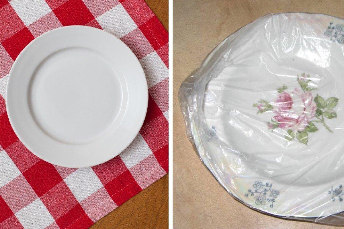 Зачем надевать пакеты на тарелки полезные советы,посуда,уборка